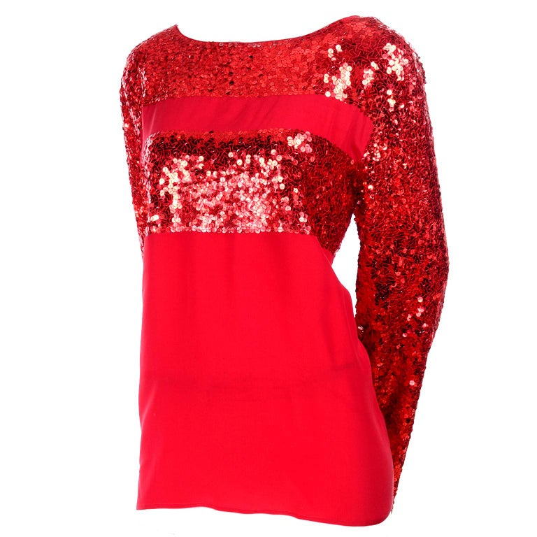 Nina Ricci Vintage Red Silk Evening Top With Sequins For Sale