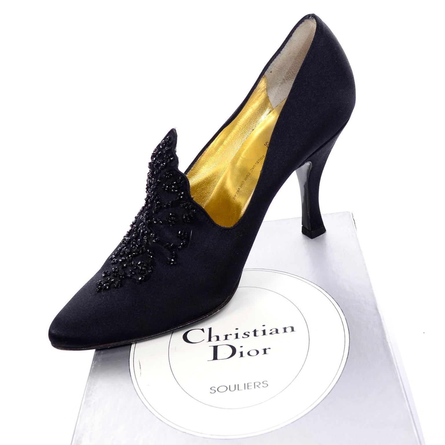 c59930072b148 Christian Dior Souliers Vintage Black Satin Beaded Shoes Size 8 W/ Bag & Box