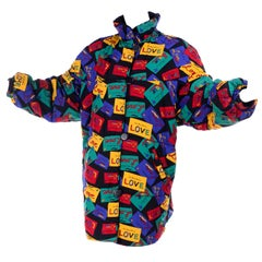 YSL Vintage Coat Yves Saint Laurent Colorful Love Cards Print Reversible Jacket