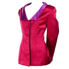 Red Satin Oscar de la Renta Evening Jacket With Purple Lapels Size 12