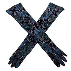 Carlos Falchi Blue & Purple Leather Pointillism Style Floral Long Gloves