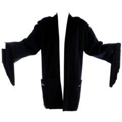 Nina Ricci Haute Boutique Black Evening Cardigan Top With Fringe