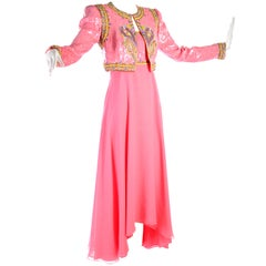 Richilene Pink Chiffon Vintage Dress w/ Beaded Sequined Bodice & Cropped Jacket
