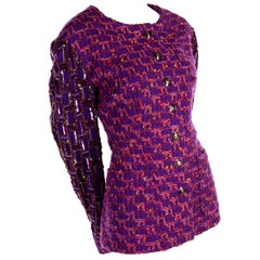 Jacques Fath Purple Tweed Jacket With Sequins and Beading