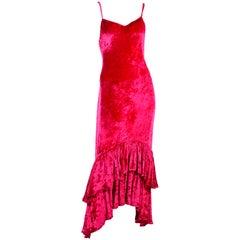 Sonia Rykiel Vintage Raspberry Pink Crushed Velvet Dress W/ Ruffled High Low Hem