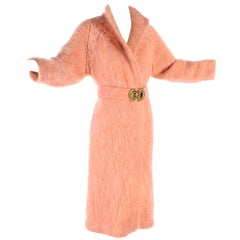 Peach Pink Vintage Mohair Coat With Belt and Decorative Bronze Clasp