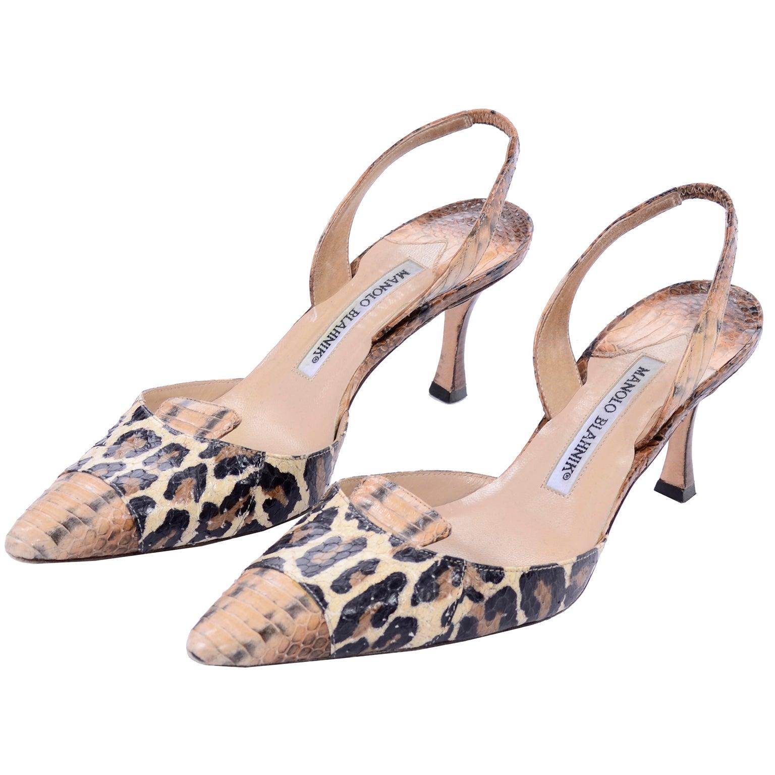 d04465e2322b Manolo Blahnik Shoes in Size 37.5 Leopard Print Snakeskin Slingback Heels  at 1stdibs