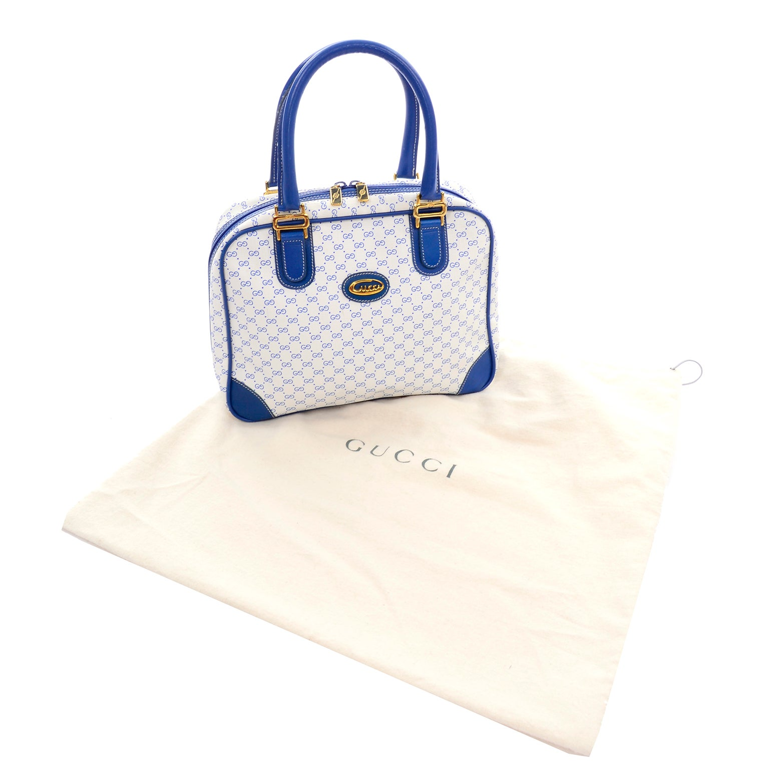 4185c7b67 Vintage Gucci Handbag Monogram Boston Bag in Bright Blue and White W/  Script Logo For Sale at 1stdibs