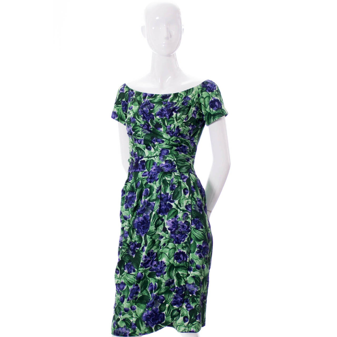 Vintage Ceil Chapman 1950s Dress Green Purple Floral Print
