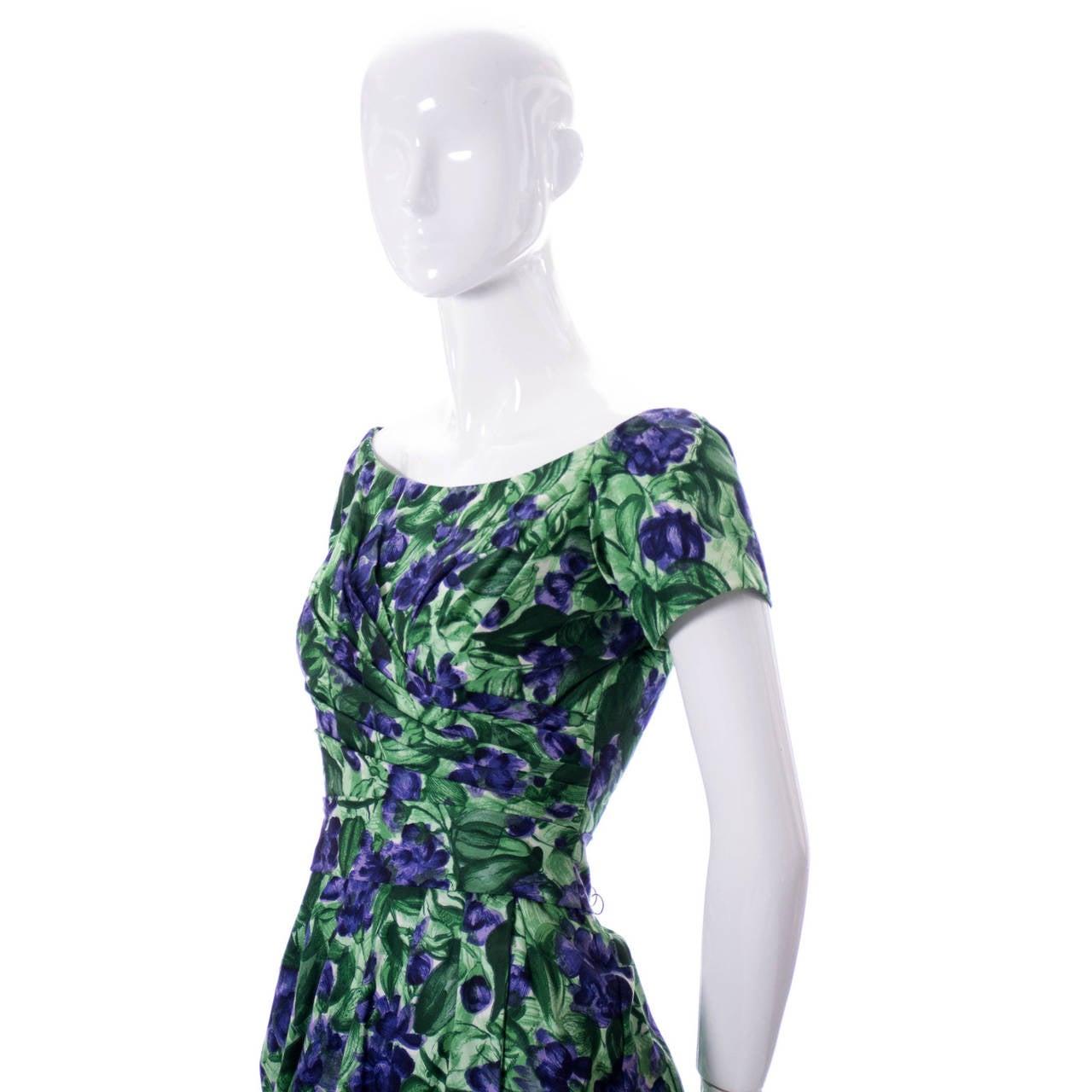 Women's Vintage Ceil Chapman 1950s Dress in Purple Green Floral Silk Print For Sale