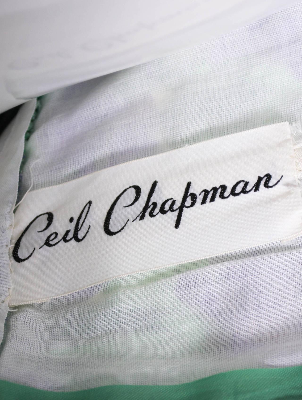 Vintage Ceil Chapman 1950s Dress in Purple Green Floral Silk Print For Sale 3
