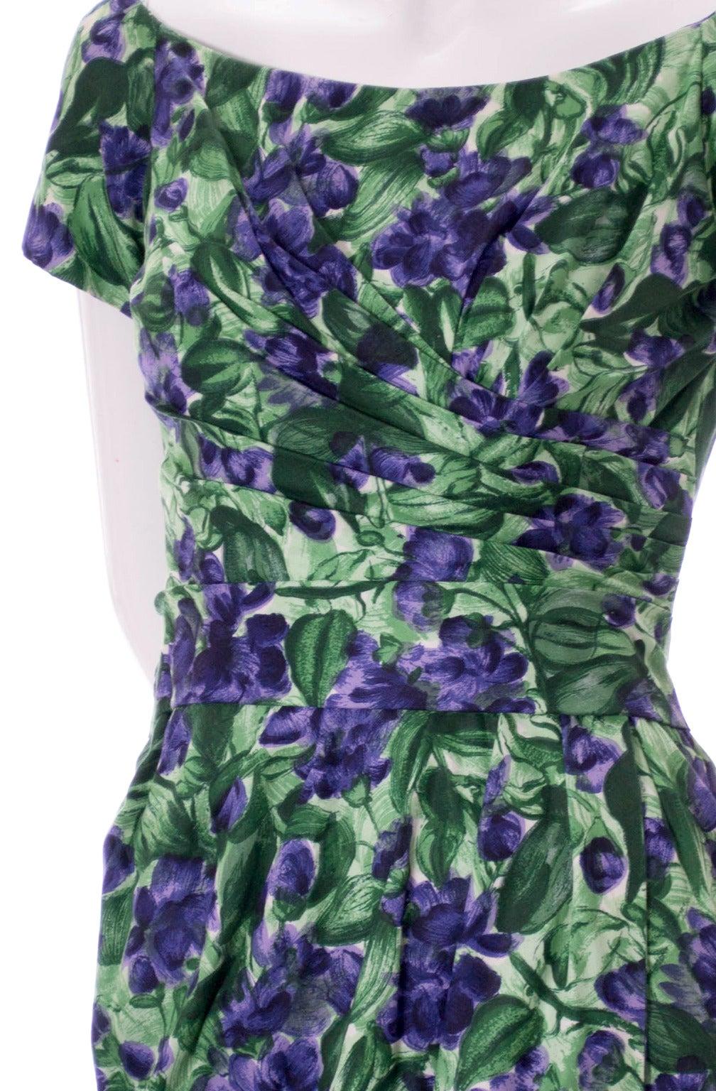 Vintage Ceil Chapman 1950s Dress in Purple Green Floral Silk Print For Sale 2