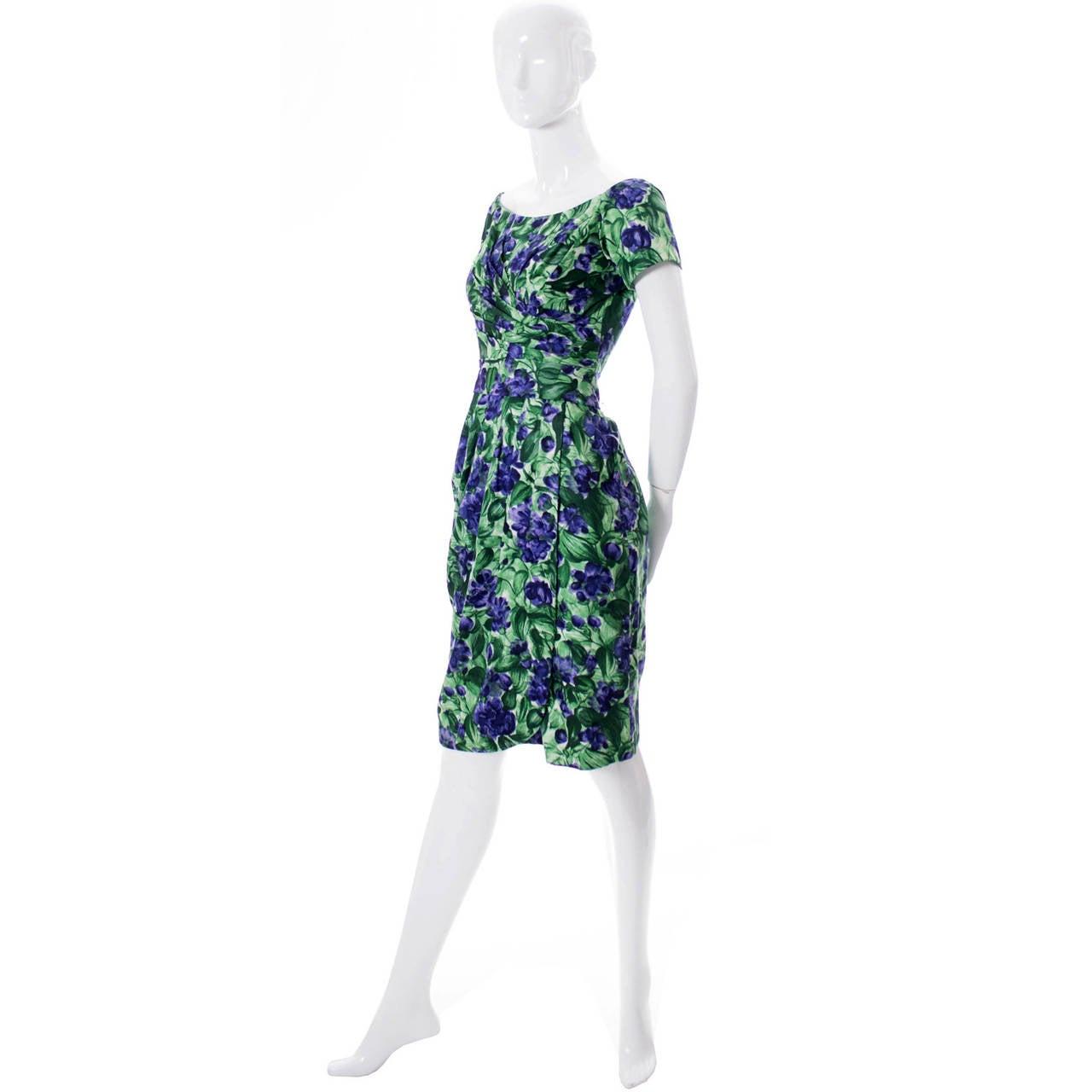 Blue Vintage Ceil Chapman 1950s Dress in Purple Green Floral Silk Print For Sale