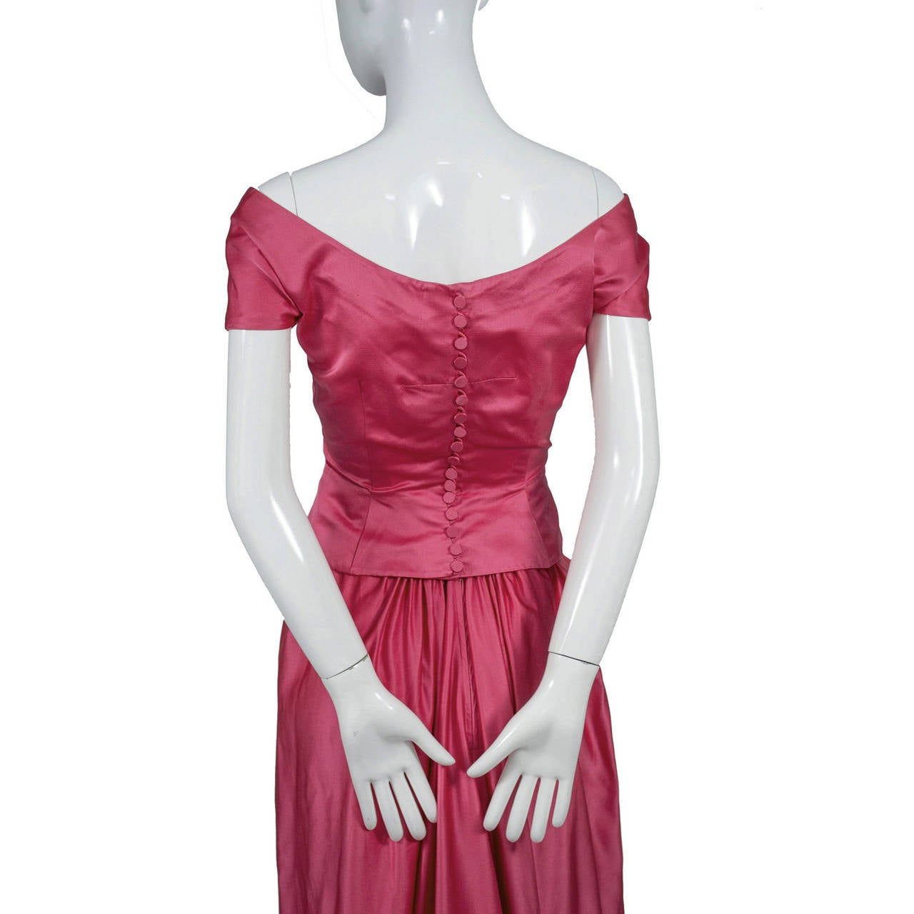 1950s Rare Clare Potter Vintage Pink Long Evening Gown Documented 4