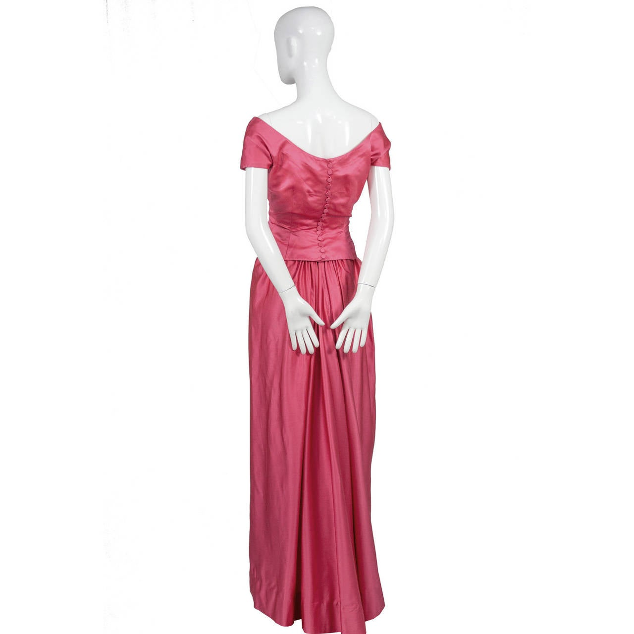 1950s Rare Clare Potter Vintage Pink Long Evening Gown Documented 2