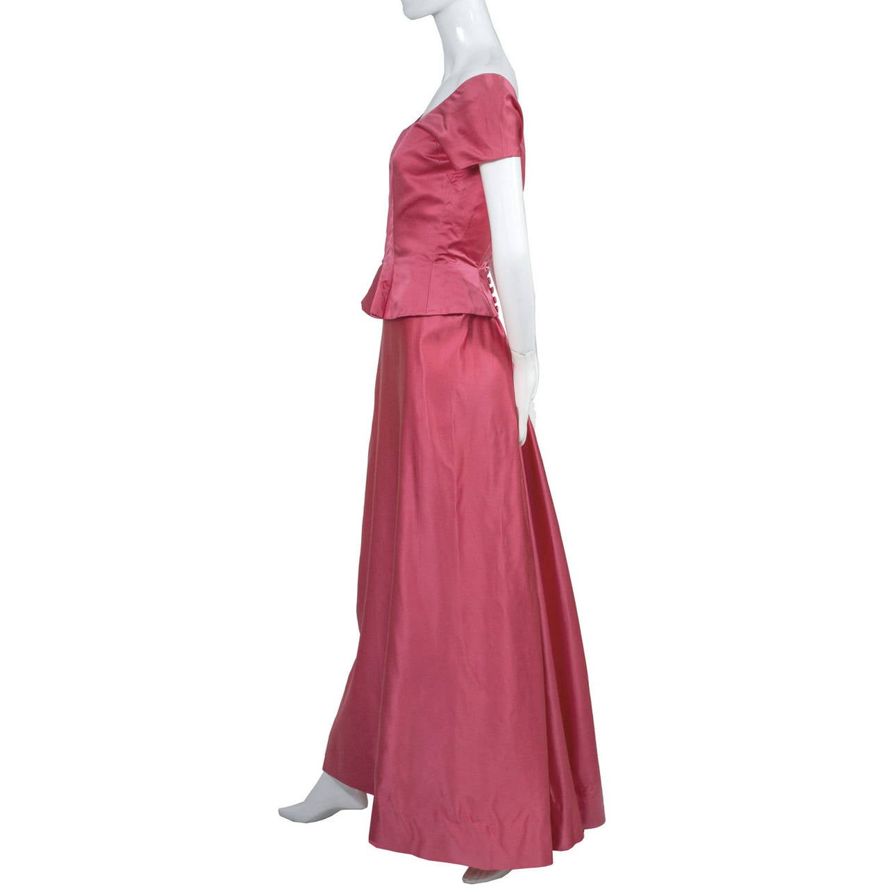 1950s Rare Clare Potter Vintage Pink Long Evening Gown Documented 3