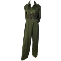 James Galanos Vintage Green Silk Jumpsuit With Suede Corset Belt