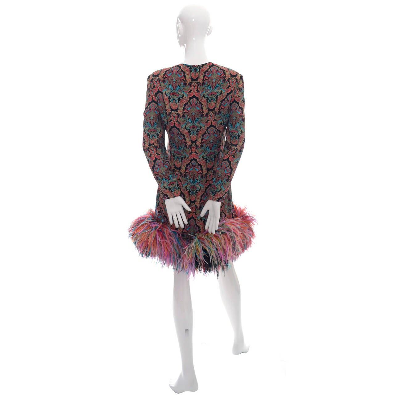 galanos designer vintage dress ostrich feathers 1980s