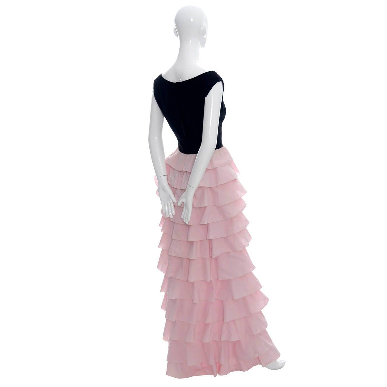 1940s Vintage Gilbert Adrian Original Dress Pink Ruffles Rare Designer Gown For Sale 1