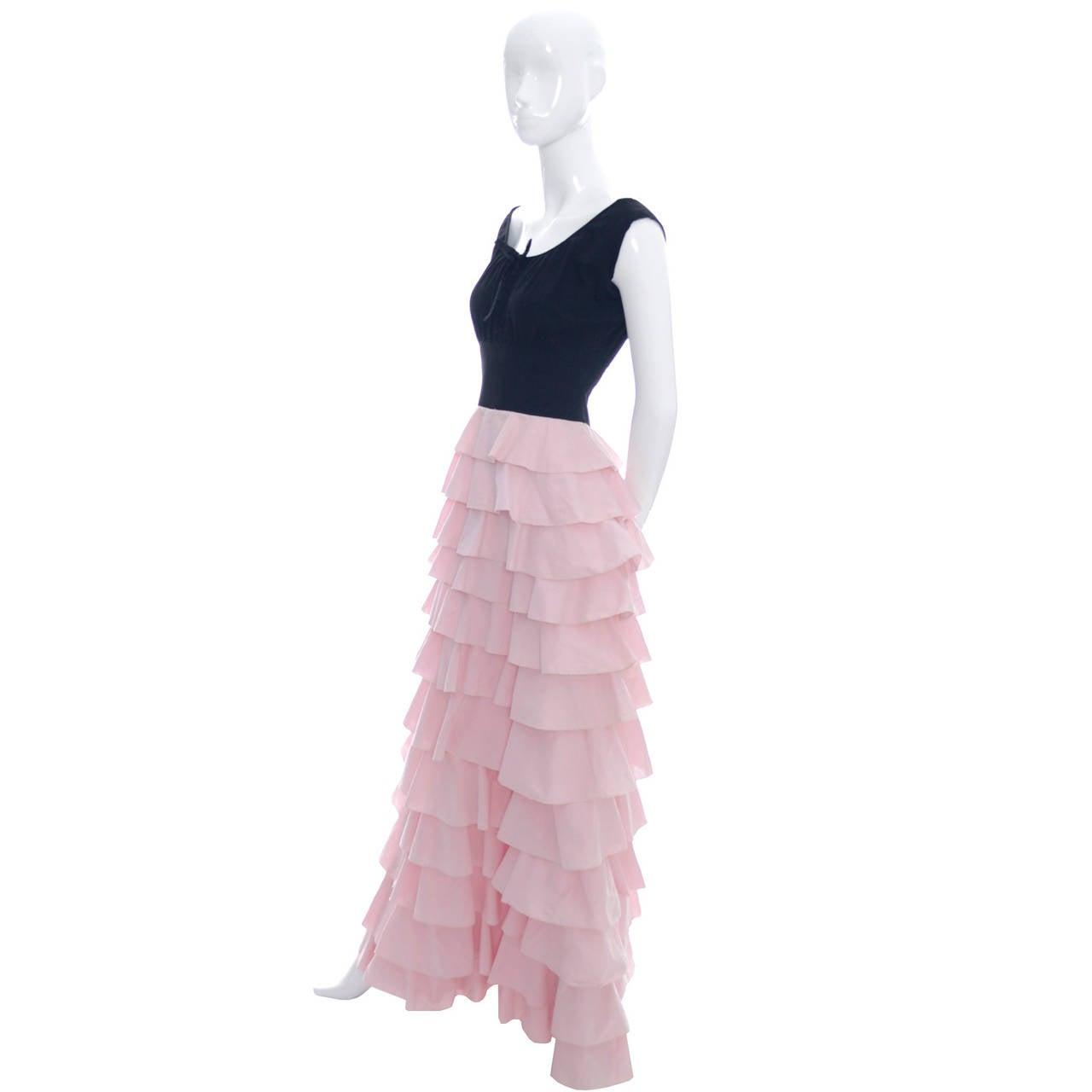 1940s Vintage Gilbert Adrian Original Dress Pink Ruffles Rare Designer Gown 2