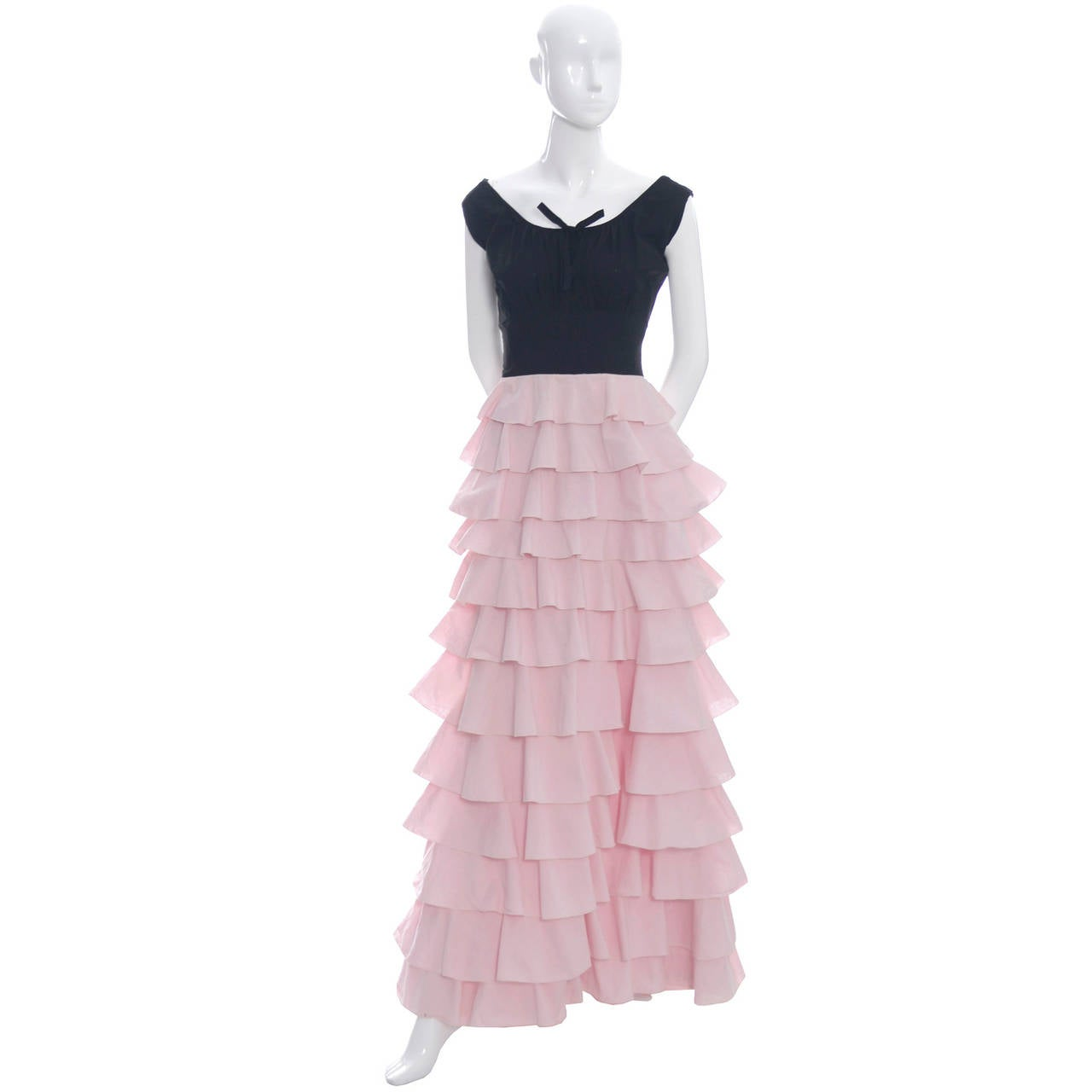 Beige 1940s Vintage Gilbert Adrian Original Dress Pink Ruffles Rare Designer Gown For Sale