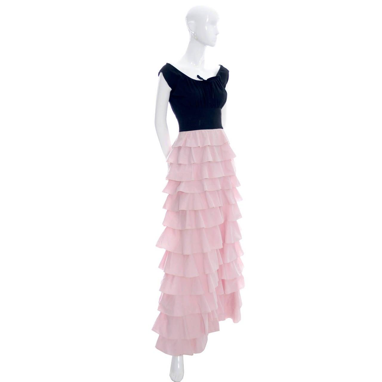 Women's 1940s Vintage Gilbert Adrian Original Dress Pink Ruffles Rare Designer Gown For Sale