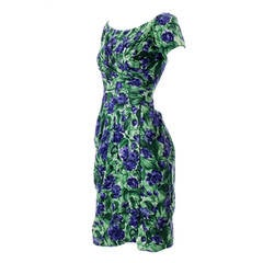 Vintage Ceil Chapman 1950s Dress in Purple Green Floral Silk Print