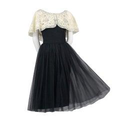 Larry Aldrich 1950s Vintage Dress in Black Organza With Wide Fine Lace Collar