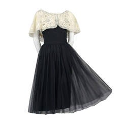 Larry Aldrich 1950s Vintage Dress in Black Organza With Wide Fine Lace Collar