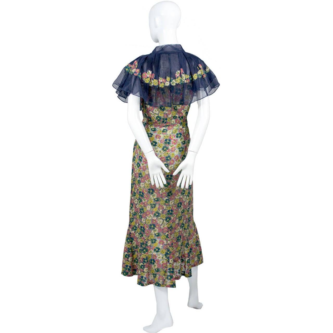 Rare 1930s Vintage Chanel Adaptation Dress Floral Velvet Applique Silk Organza 2
