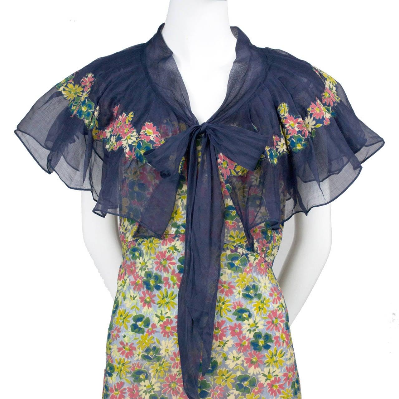 Rare 1930s Vintage Chanel Adaptation Dress Floral Velvet Applique Silk Organza 3