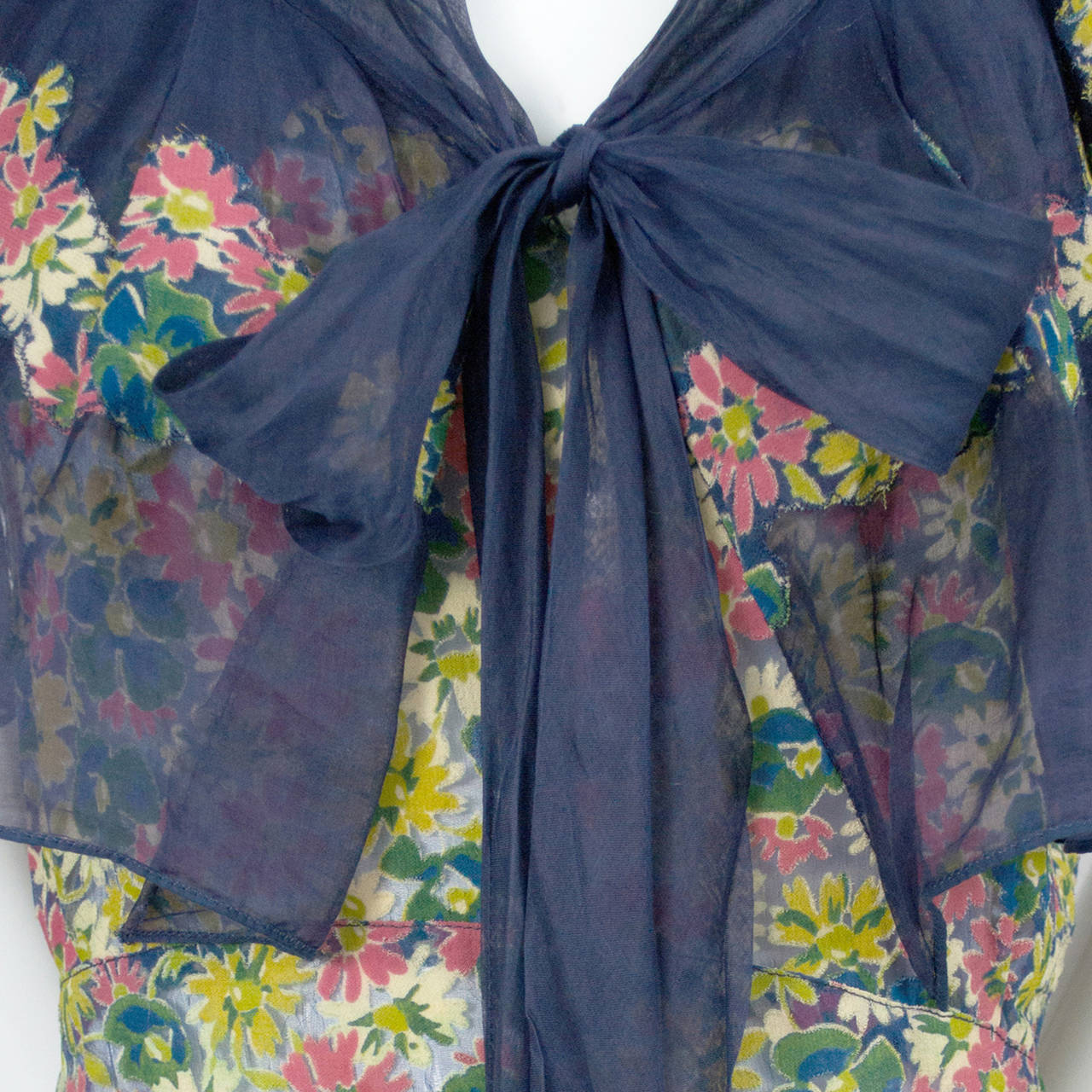 Rare 1930s Vintage Chanel Adaptation Dress Floral Velvet Applique Silk Organza 4