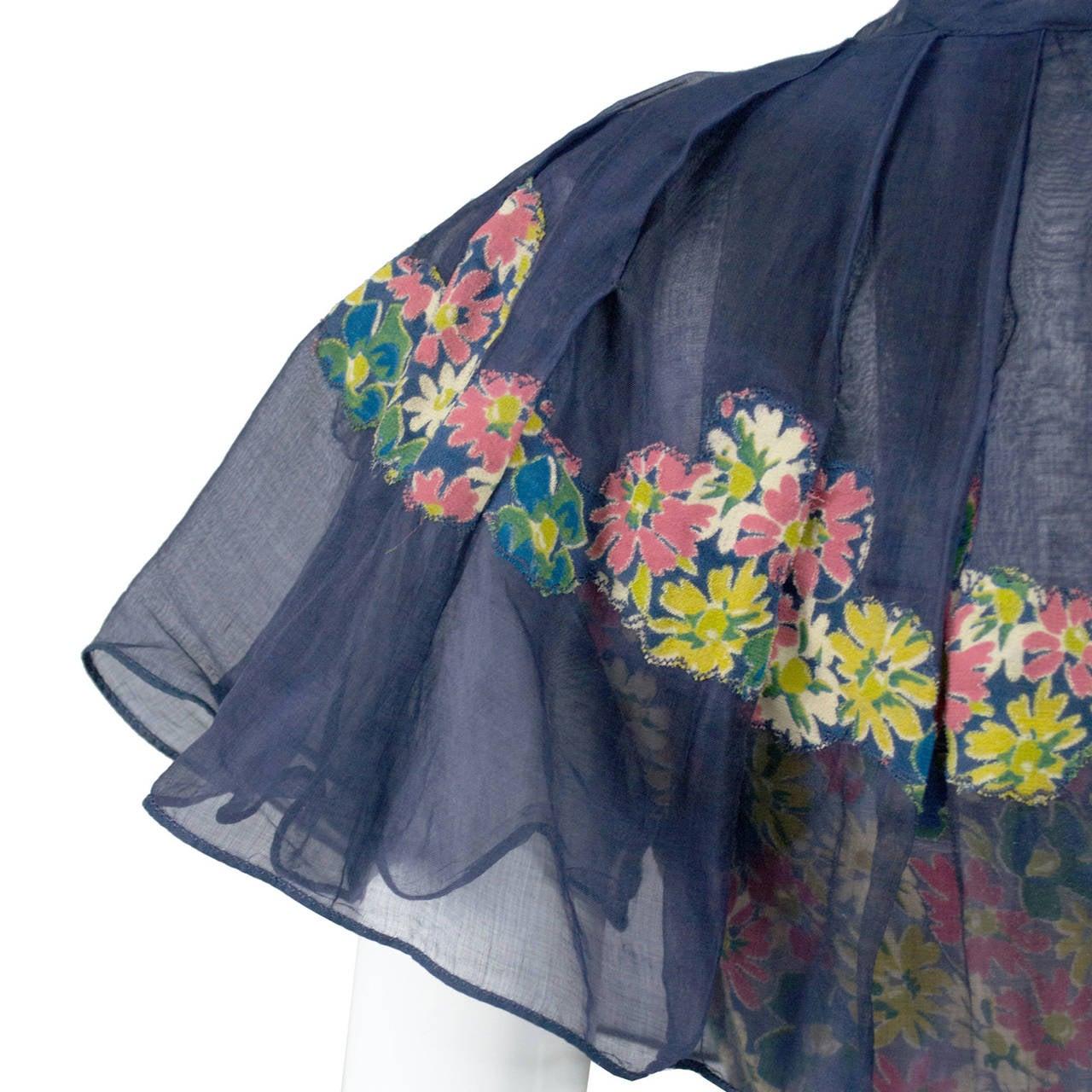Rare 1930s Vintage Chanel Adaptation Dress Floral Velvet Applique Silk Organza 5
