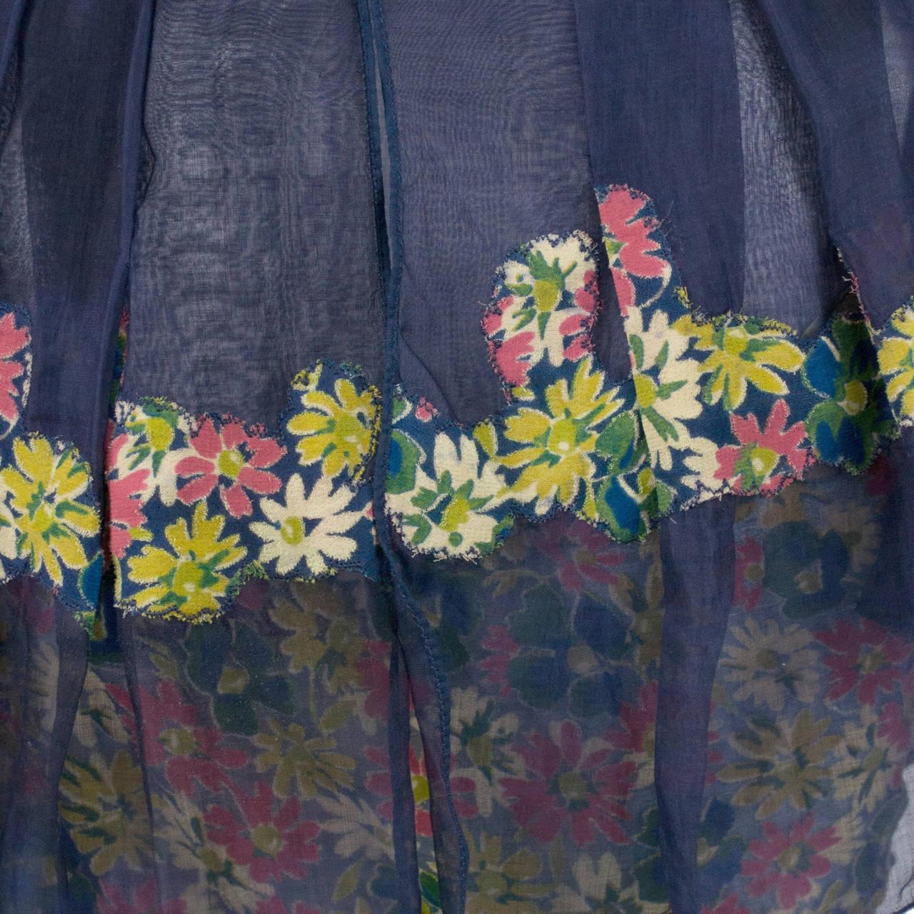 Rare 1930s Vintage Chanel Adaptation Dress Floral Velvet Applique Silk Organza 6