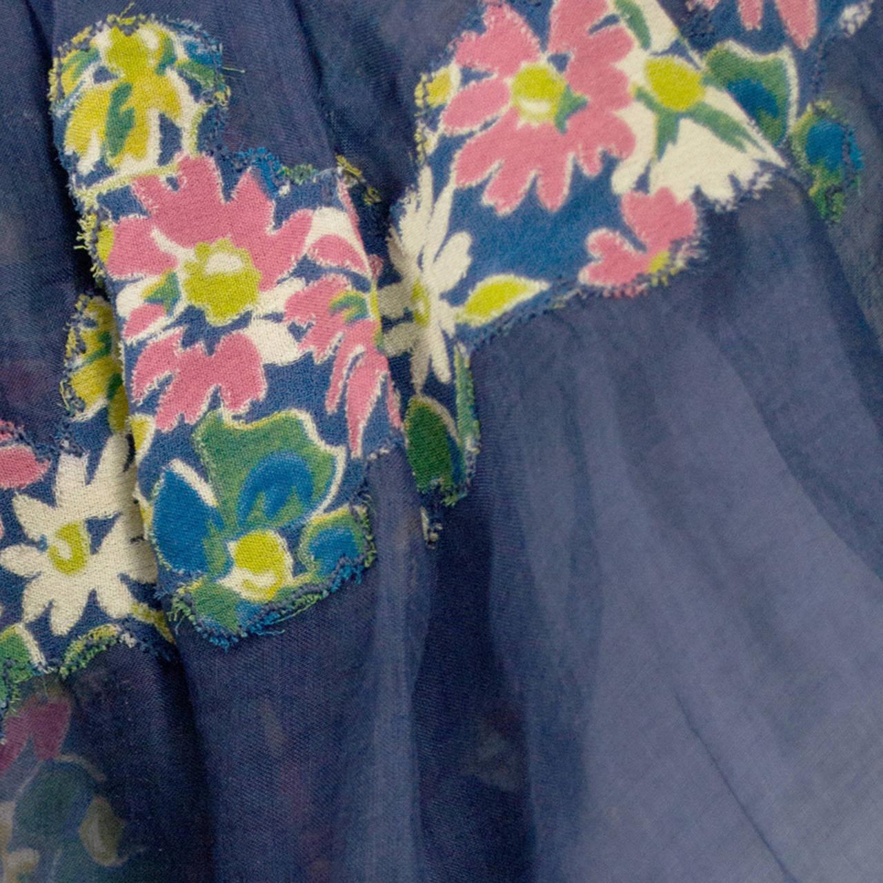 Rare 1930s Vintage Chanel Adaptation Dress Floral Velvet Applique Silk Organza 7