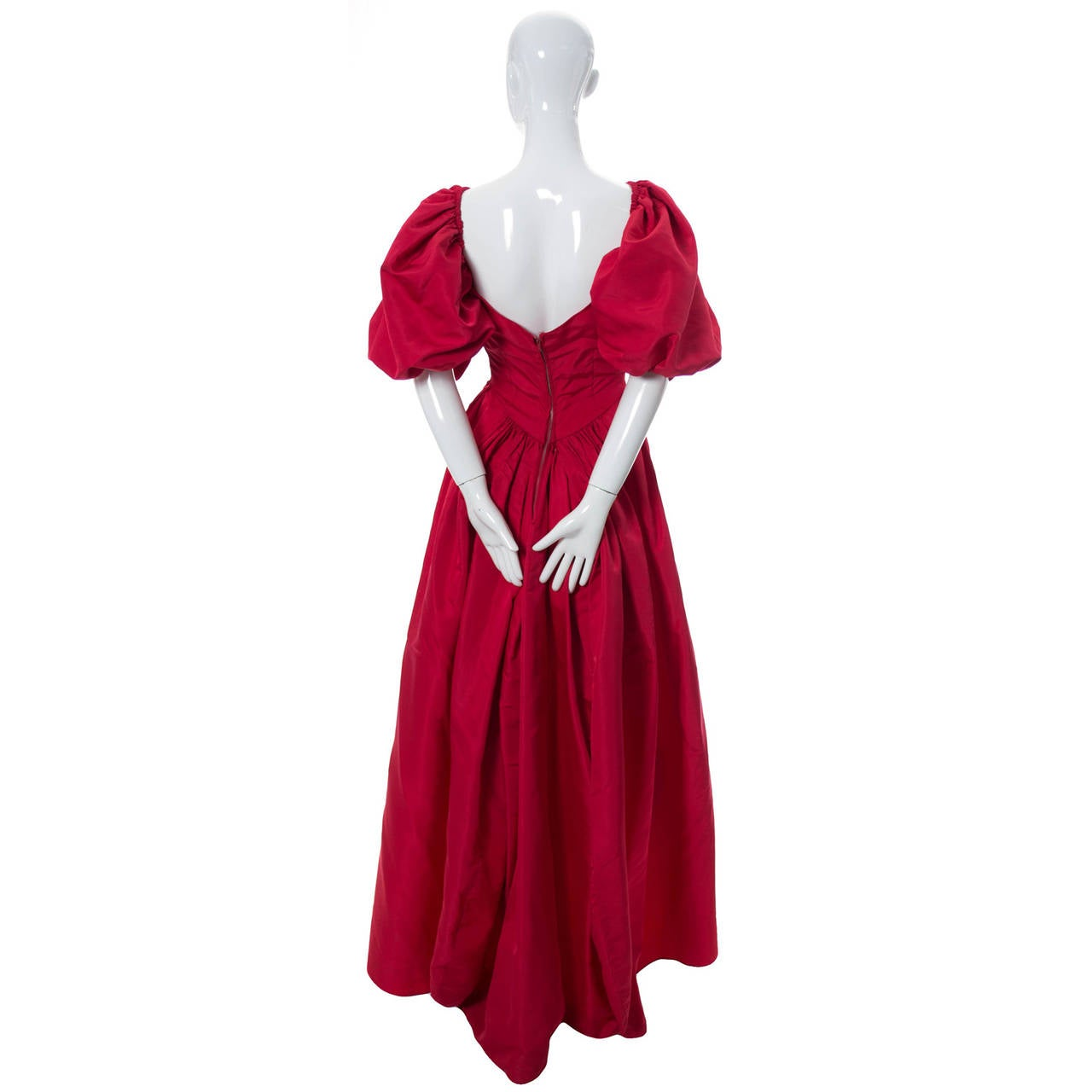 Rosalie MaCrini 1950's red satin formal vintage dress at ...- photo #50