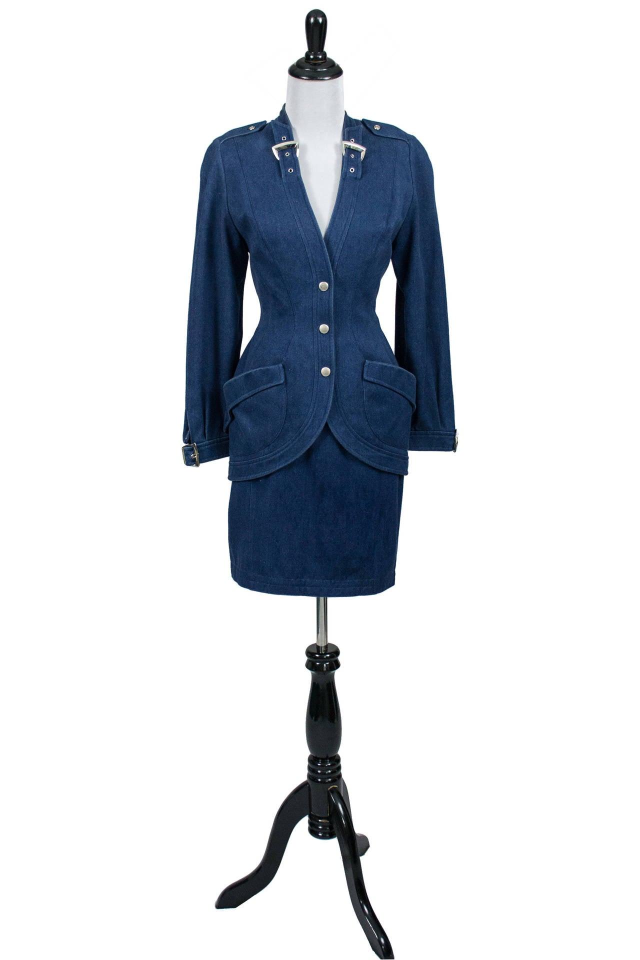 Thierry Mugler 1980's Designer Vintage Suit Denim Skirt Blazer Buckles 3