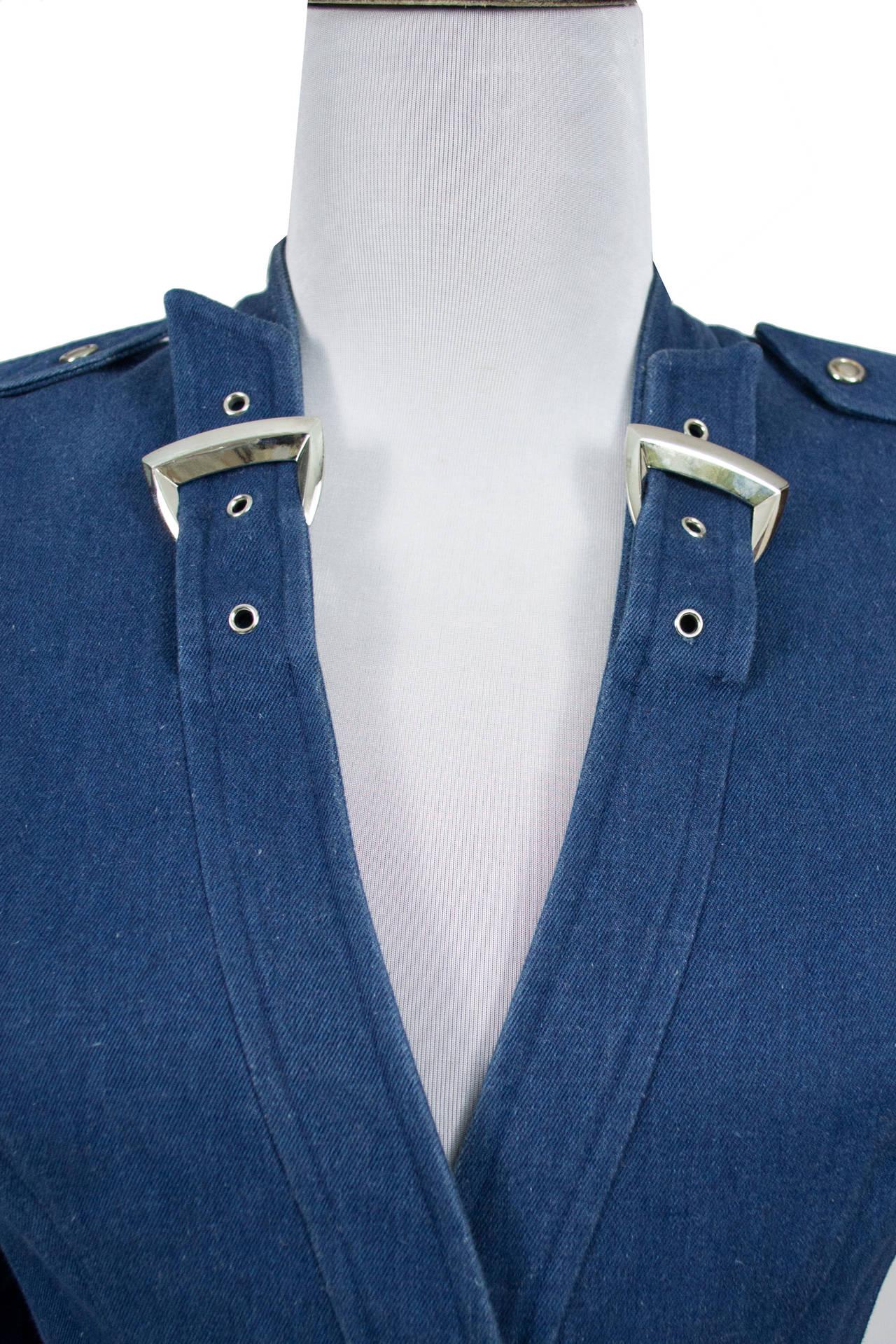 Thierry Mugler 1980's Designer Vintage Suit Denim Skirt Blazer Buckles 4