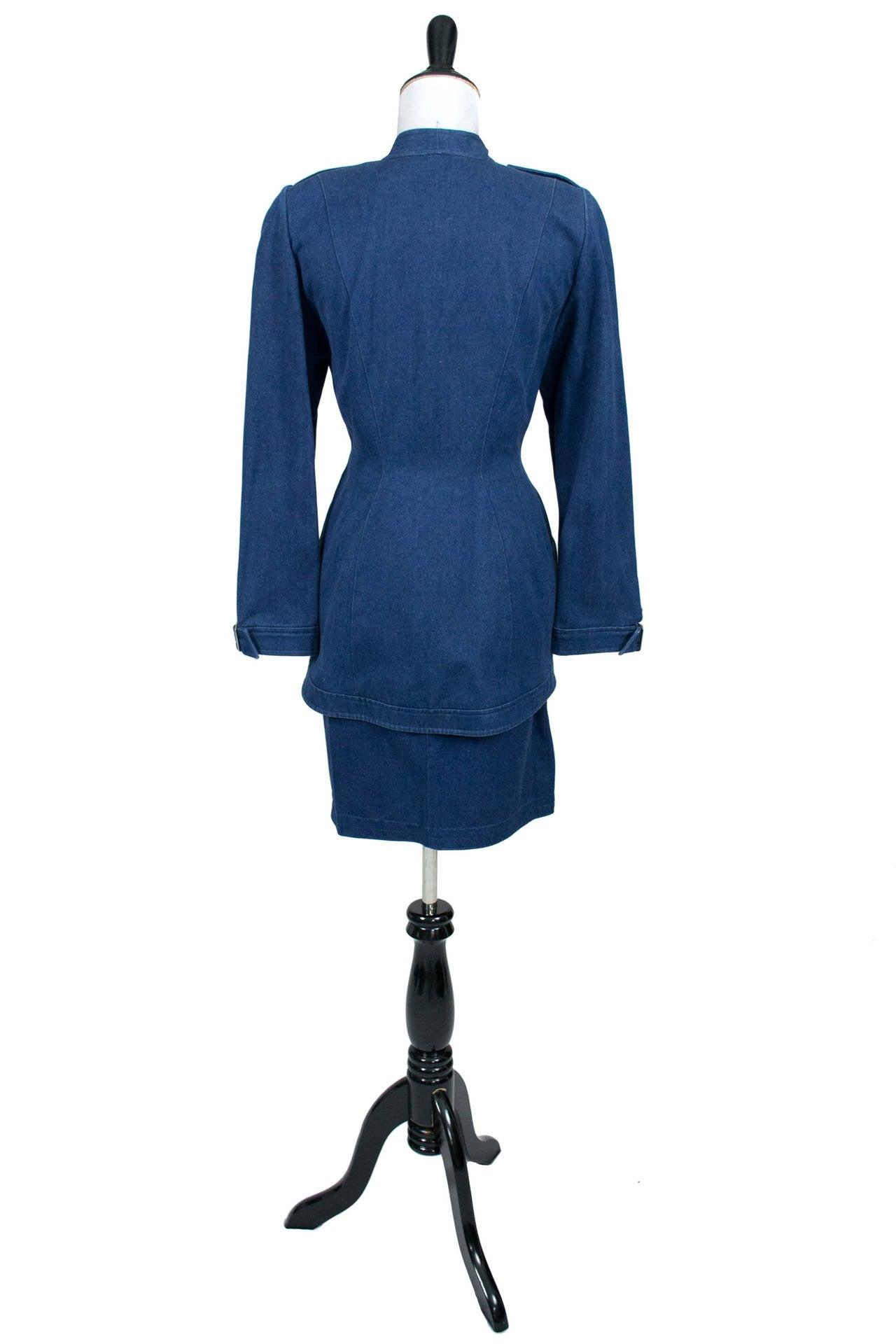 Thierry Mugler 1980's Designer Vintage Suit Denim Skirt Blazer Buckles 2