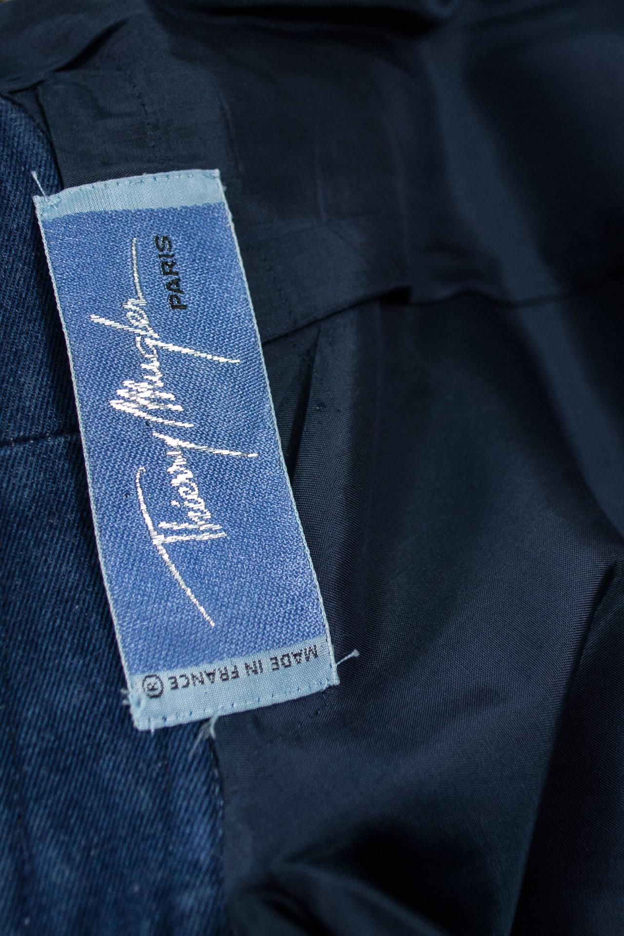 Thierry Mugler 1980's Designer Vintage Suit Denim Skirt Blazer Buckles 5