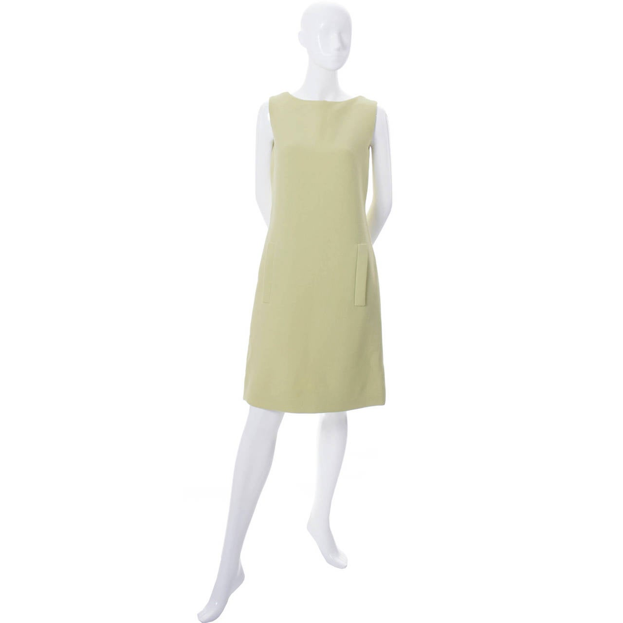 Beige 1960s Vintage Norman Norell Sleeveless Green Shift Dress For Sale