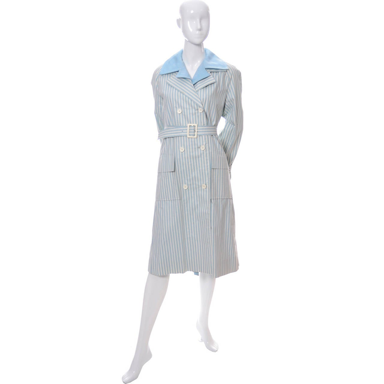 Givenchy Nouvelle Boutique 1970s Blue Vintage Dress and Striped Coat Outfit 4