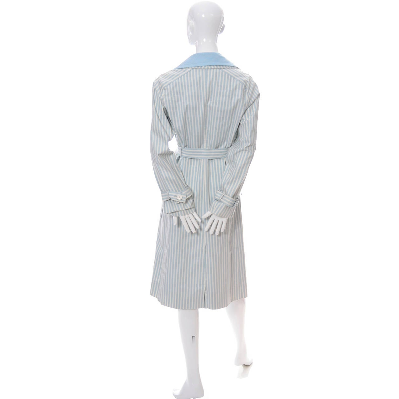 Givenchy Nouvelle Boutique 1970s Blue Vintage Dress and Striped Coat Outfit 6