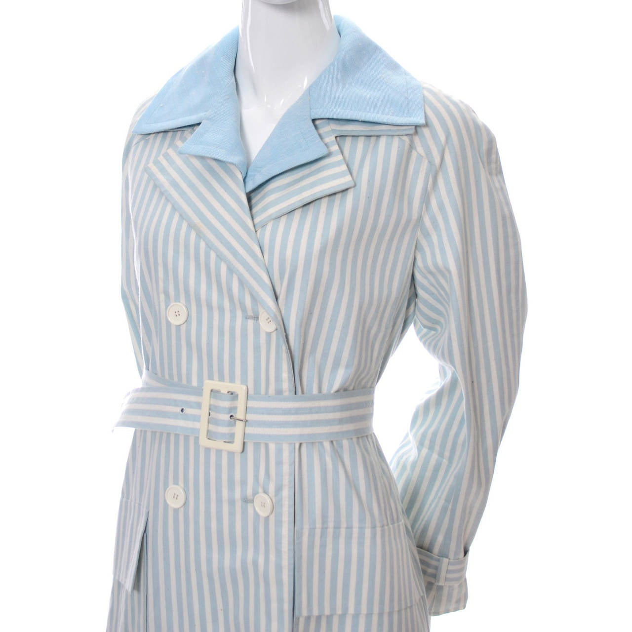 Givenchy Nouvelle Boutique 1970s Blue Vintage Dress and Striped Coat Outfit 7