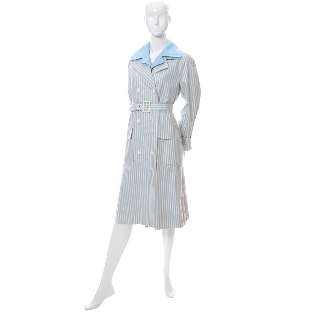 Givenchy Nouvelle Boutique 1970s Blue Vintage Dress and Striped Coat Outfit 3