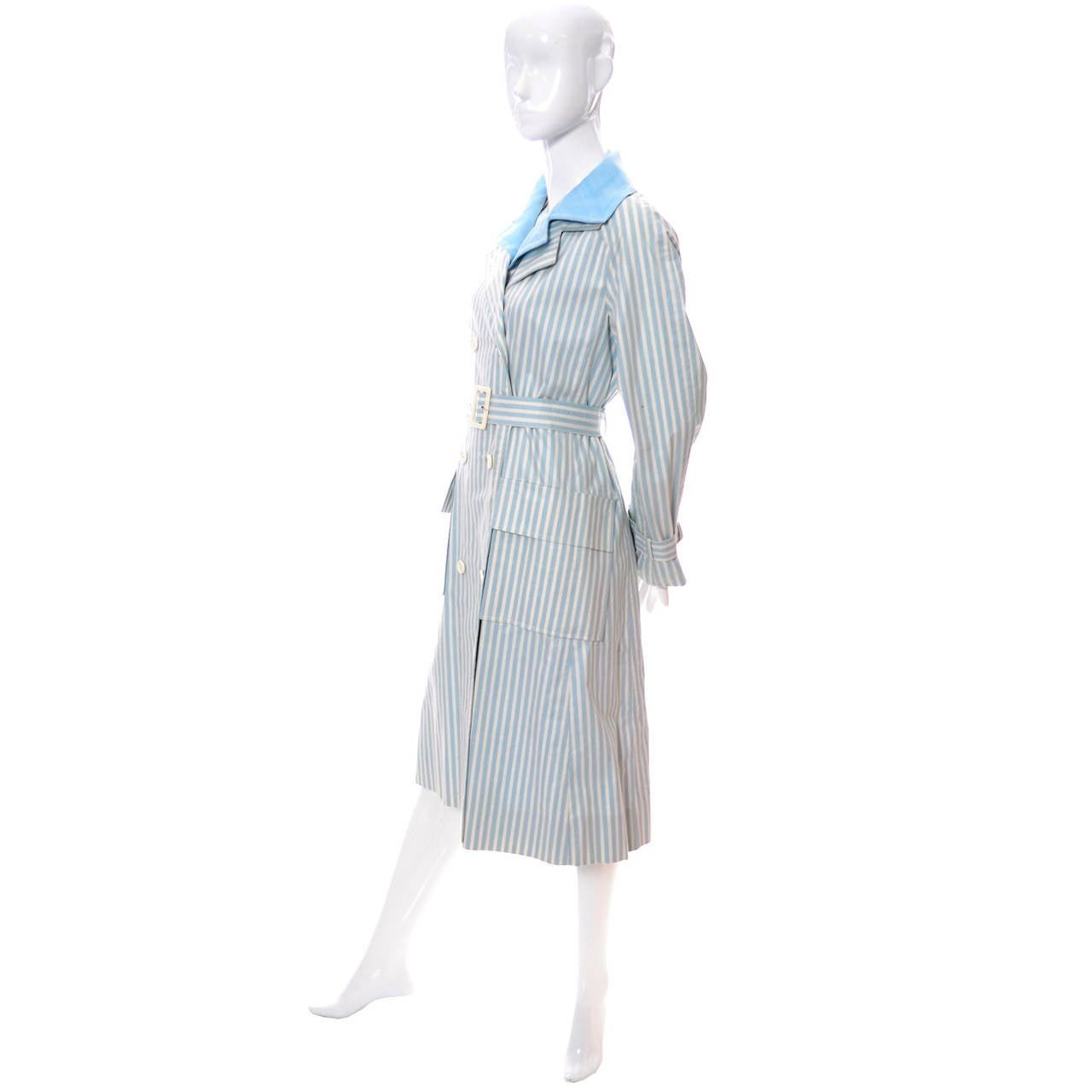 Givenchy Nouvelle Boutique 1970s Blue Vintage Dress and Striped Coat Outfit 8