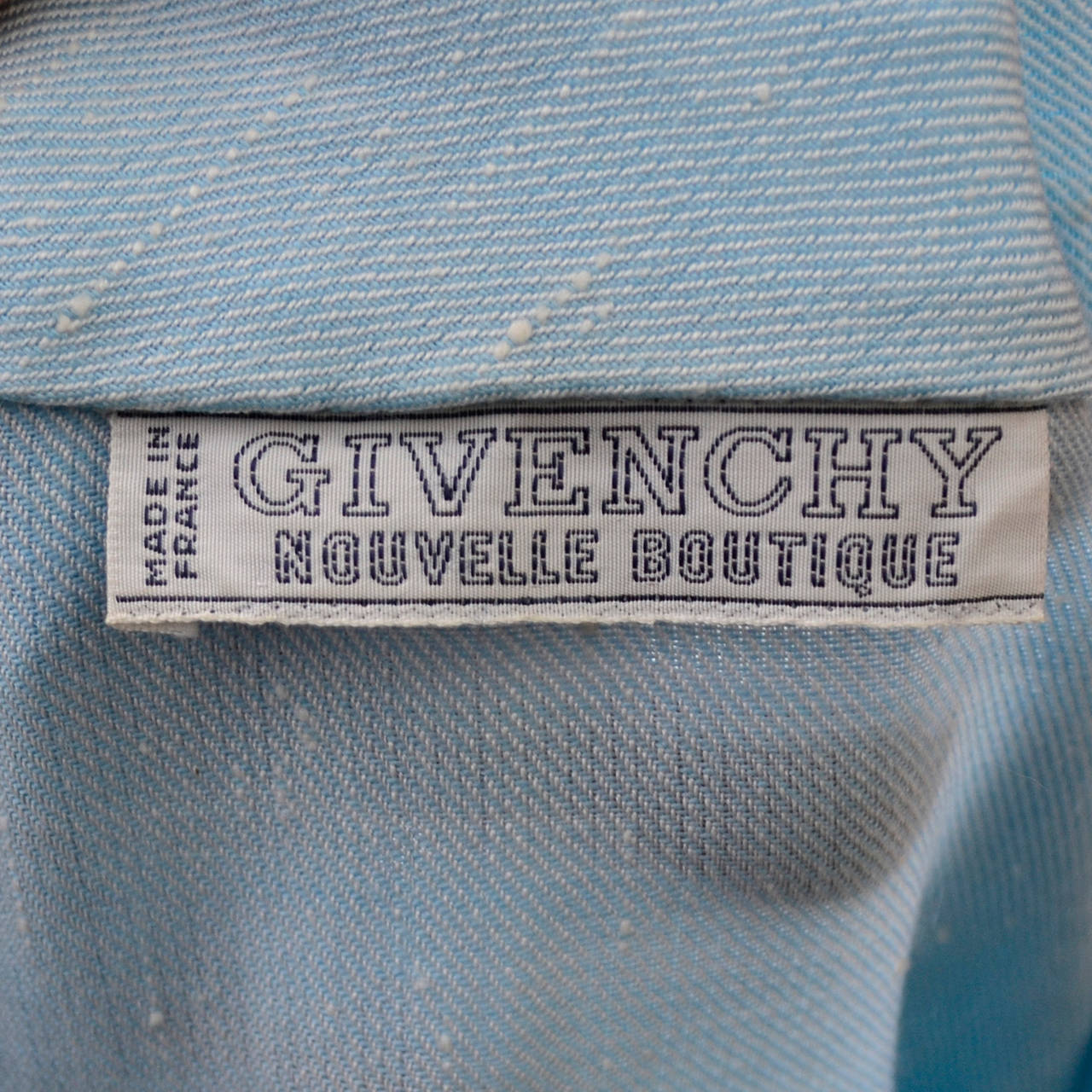 Givenchy Nouvelle Boutique 1970s Blue Vintage Dress and Striped Coat Outfit 9