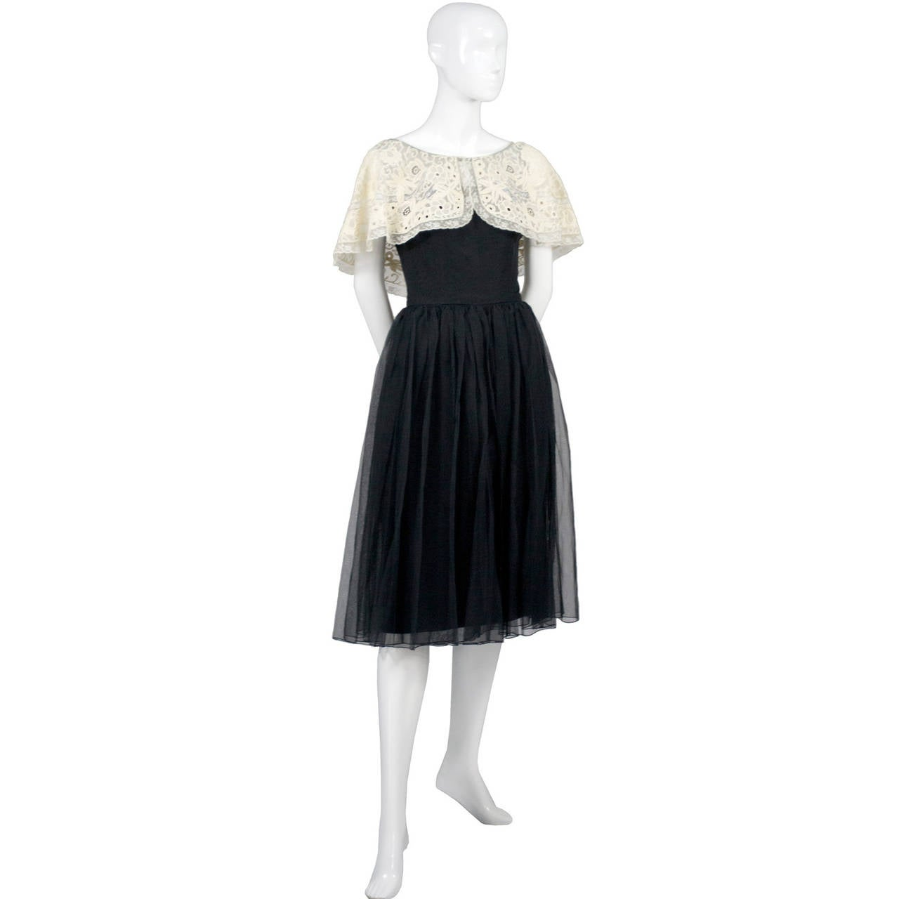 Larry Aldrich 1950s Vintage Dress Black Organza Wide Fine Lace Collar 2