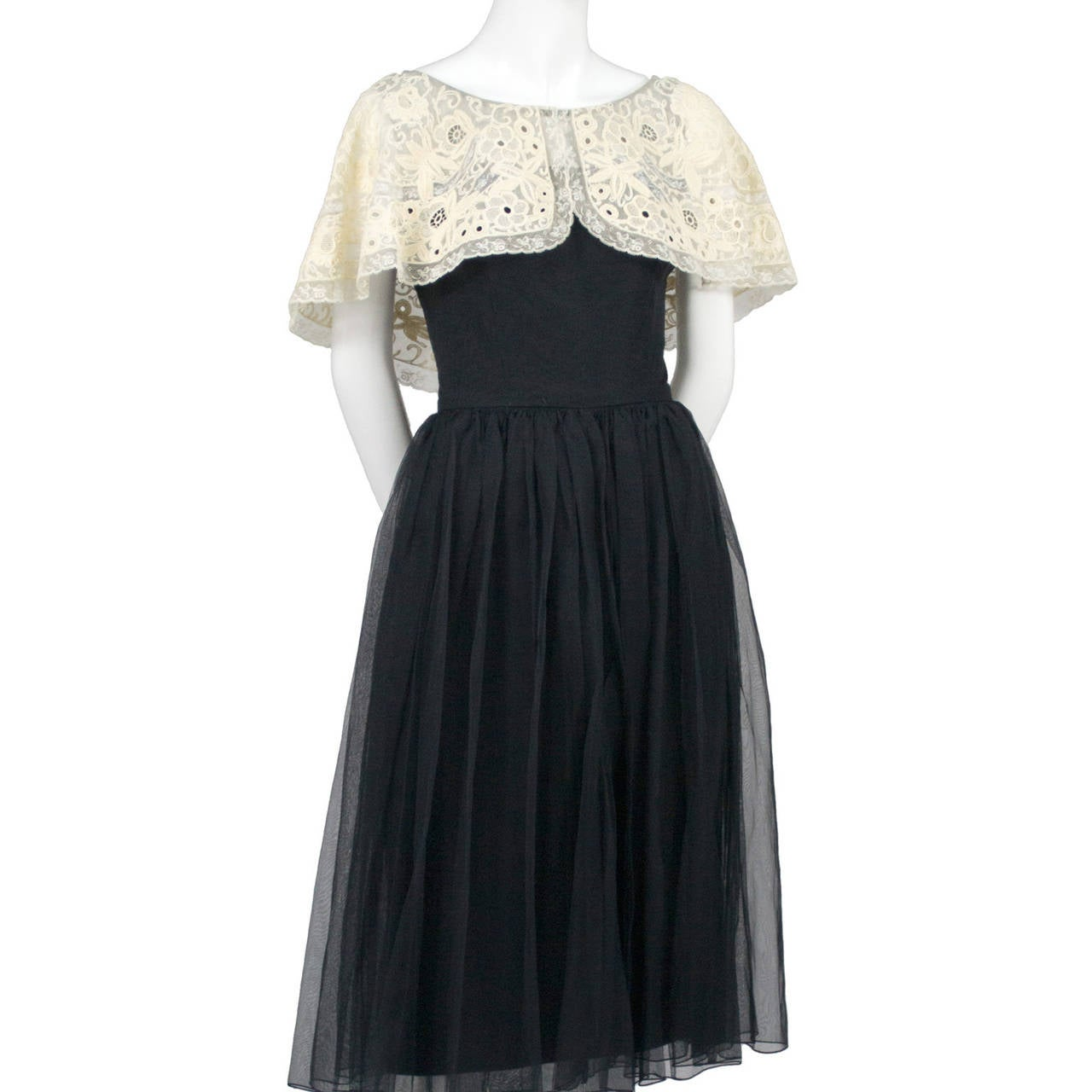 Larry Aldrich 1950s Vintage Dress Black Organza Wide Fine Lace Collar 4