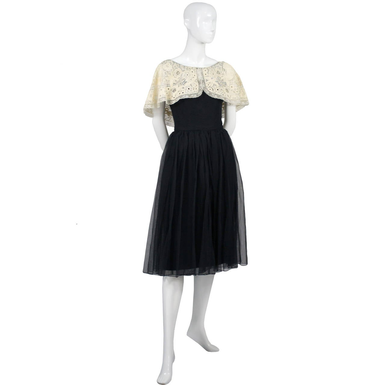 Larry Aldrich 1950s Vintage Dress Black Organza Wide Fine Lace Collar 7